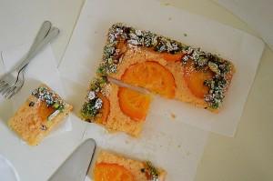 Orange upside down cake with pistachio crumble