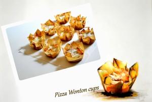 Crispy Pizza Wonton Cups