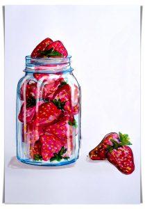 Strawberries food doodle
