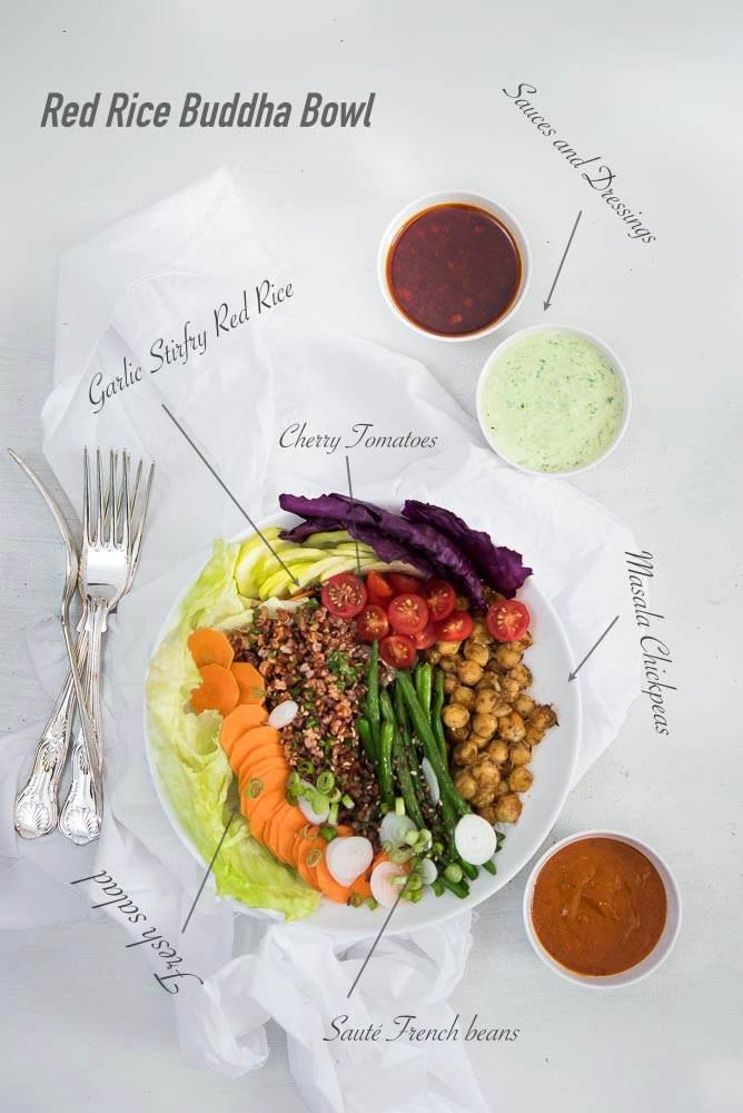 Red Rice Buddha Bowl food photography