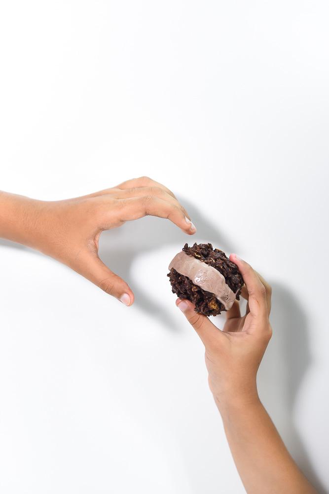 Cornflake chocolate cookies ice cream sandwich