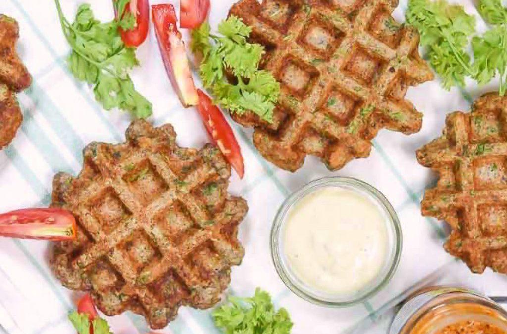 Multigrain Health Flour Waffles with Chia Dip