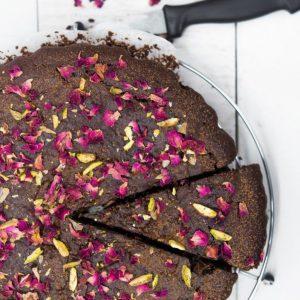Rose Pistachio Chocolate Cake