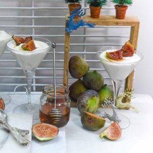 Yogurt Mousse  with Honey Caramelised Figs